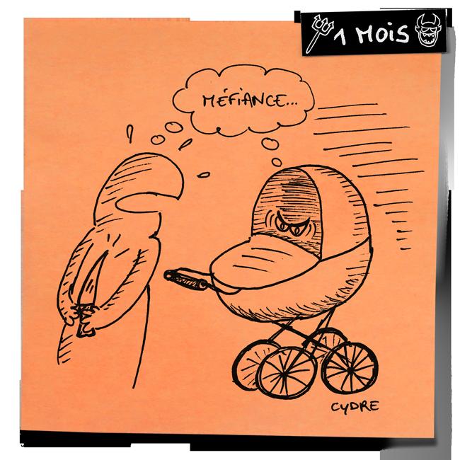 """""""Halloween Quizz Post-It 2"""" - Quand il ne fait pas dodo, il nous épie du fond de son landau… / Cydre - jedressemongamin.com"""