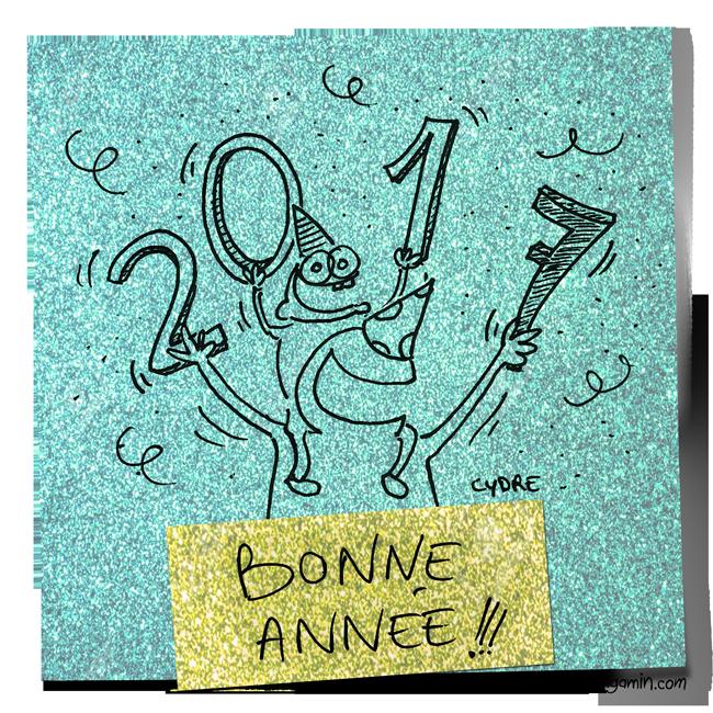 """""""Bonne Année !!!"""" - En vous souhaitant de nouvelles aventures formidables avec vos gamins ! / Cydre - jedressemongamin.com"""